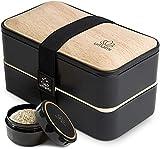 UMAMI Bento Box für Erwachsene/Kinder, neue Premium Edition, 1 Soßentöpfe & 4 Bestecke, Lunch Box für Männer/Frauen, 2 Meal Prep Containers, Mikrowelle, Spülmaschinen, Gefrierschrank-sicher, BPA frei