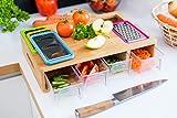 Großes Bambus-Schneidebrett mit Behältern und Schubladen - ein Holz Metzger Block mit 4 Schubladen & separater Öffnung für Gemüse, Fleisch, Obst, Brot, Käse oder Anderes. Natürlich antimikrobiell.