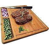 NIUXX Bambus Schneidebrett mit Saftrille, Premium Schneidbrett 30 x 21 x 1.5 cm Großes Holz-Brett Küche, Antibakterielles Wende Holzbrett mit 3 Eingebaute Fächer, Ideal für Fleisch und Gemüse