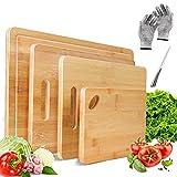 Masthome Bambus Schneidebrett 4 Stück Set Küchenbrett aus Bambus mit Saftrille und Griff Bambusbretter Set für Fleisch Gemüse Käse Obst Usw,1 Schnittfeste Handschuhe und 1 Messer als Geschenk