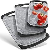 IP-HOME Premium Schneidebretter-Set (3-teiliges Set) | Spülmaschinenfest | rutschfest mit Saftrille und Griff zum aufhängen | BPA frei | grau anthrazit schwarz aus PP-Kunststoff | antibakteriell