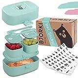 BJORKI® Bento Box für Kinder inkl. GRATIS Namensticker - Auslaufsichere Lunchbox mit Fächern - Nachhaltige Brotdose Kinder für Kindergarten & Schule - Die Jausenbox für unterwegs.