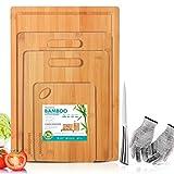 Masthome 4 Stück Bambus Schneidebrett mit Saftrille und Griff,Schneidebrett Set Ideal für Fleisch Gemüse Käse Obst usw,1 Messerschärfer und 1 Messer als Geschenk