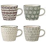 Bloomingville Tassen Karine, grau grün lila, Keramik, 4er Set