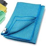 ELEXACLEAN Mikrofaser Trockentuch, Premium Waffeltuch (2 Stück, 60x40 cm, Blau) superweiche Qualität für Auto, Glas, Küche, Geschirr, Bad