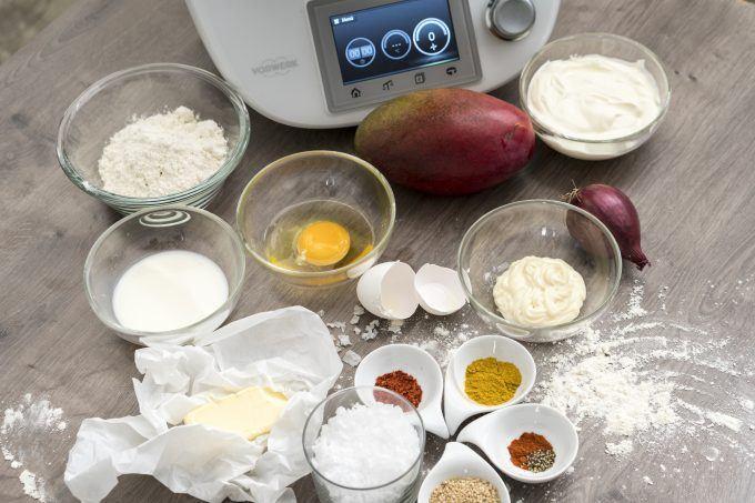 Zutaten für Sesam-Chili-Brotsticks aus dem Thermomix mit Mango-Dip