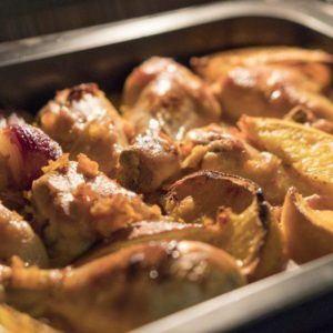 Ofen-Hähnchen mit Orangen, Kürbis und Zwiebeln mit dem Thermomix schnell fertig