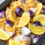 Ofen-Hähnchen mit Orangen, Kürbis und Zwiebeln aus dem Thermomix, fertig für den Ofen