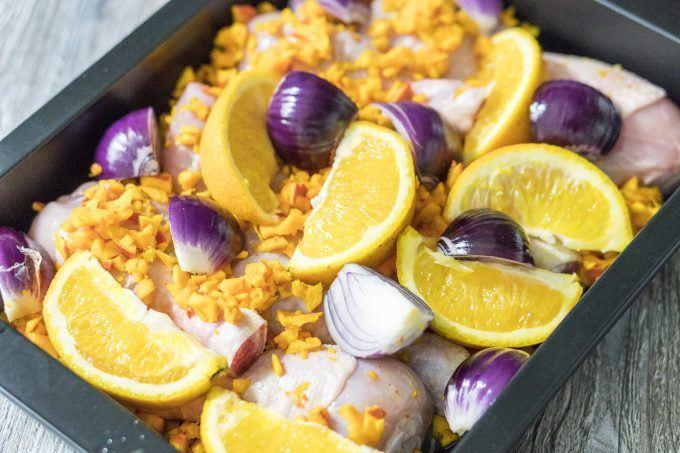 Ofenhähnchen mit Kürbis und Orange mit dem Thermomix®, fertig für den Ofen