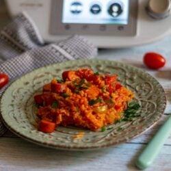 One-Pot Djuvec-Reis mit Debreziner aus dem Thermomix®