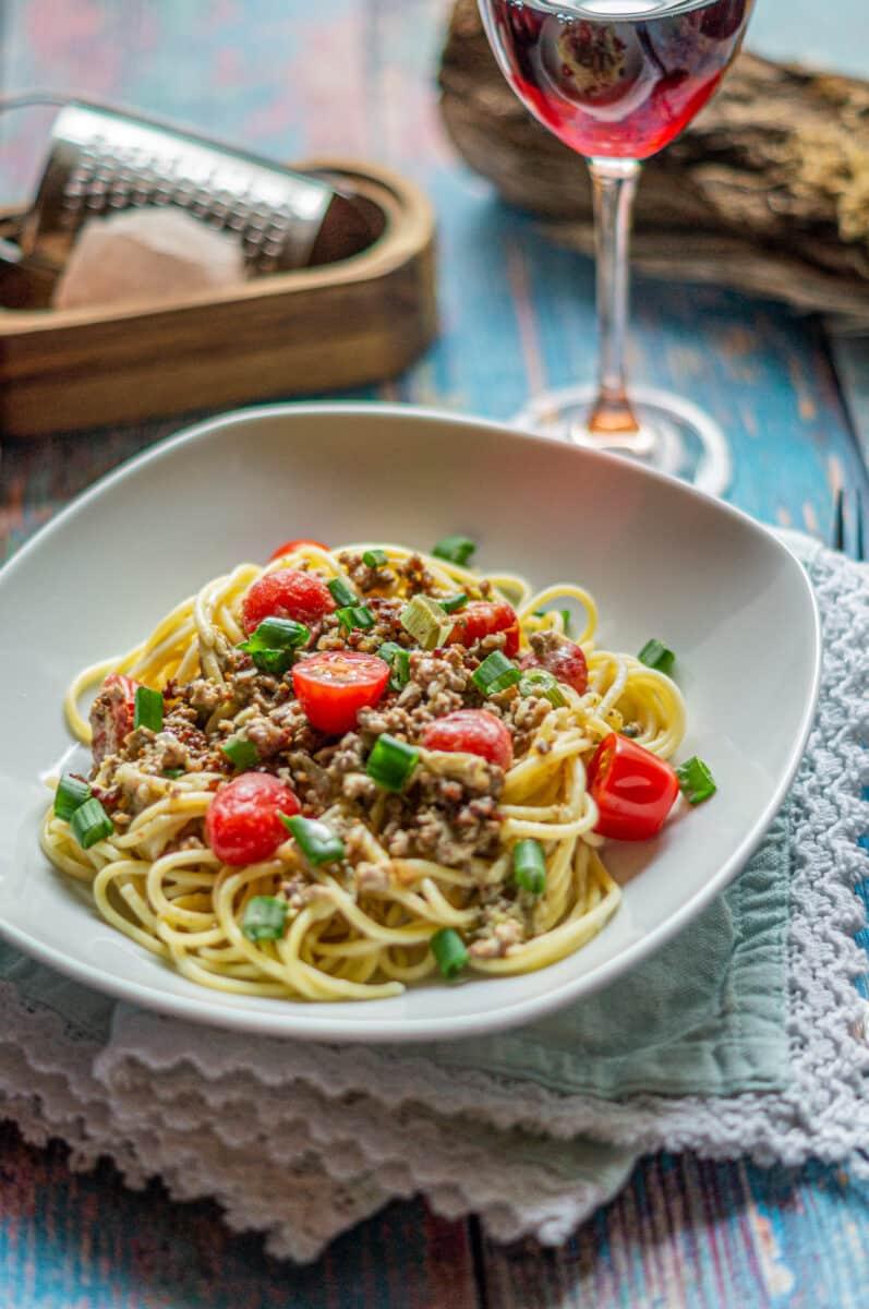 Spaghetti mit Hack-Frischkäse-Soße aus dem Thermomix®