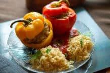 Gefüllte Paprikaschoten mit Reis und Tomatensauce aus dem Thermomix®